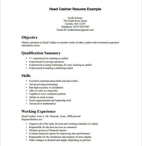 Download Cashier Resume Sample | haadyaooverbayresort.com