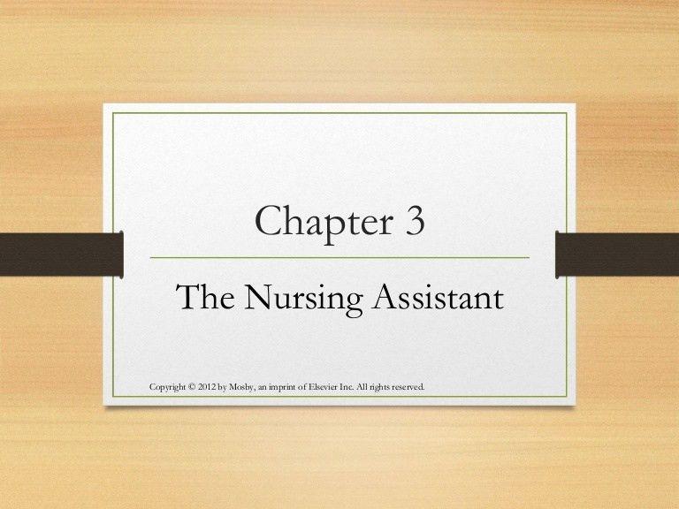 Ch 3 the nurse assistant