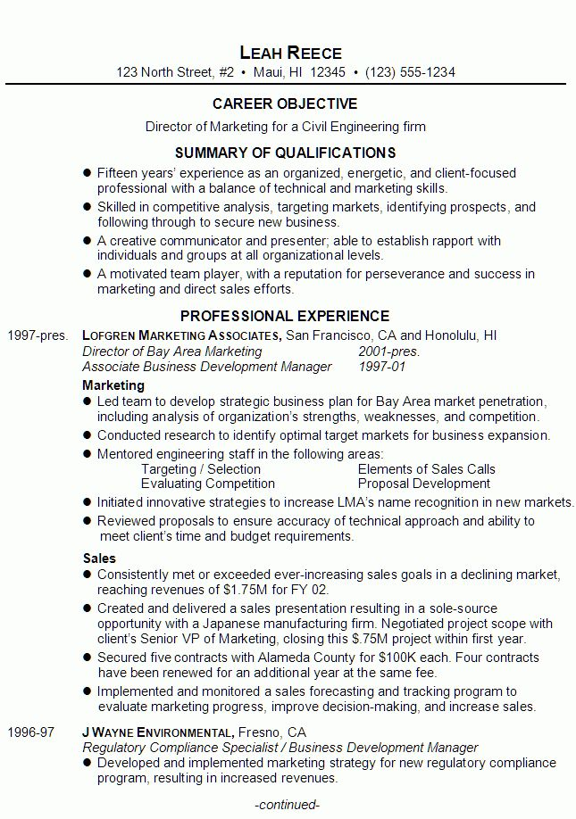 Resume for a Director of Marketing - Susan Ireland Resumes