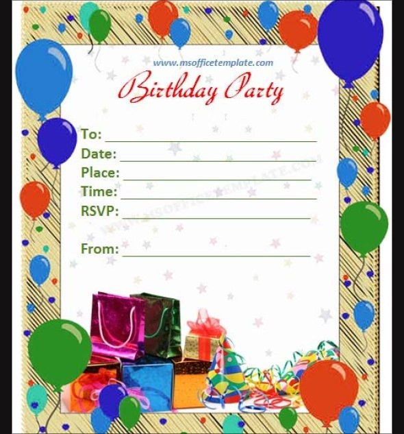The most popular Happy Birthday Invitation Card Template 29 For ...