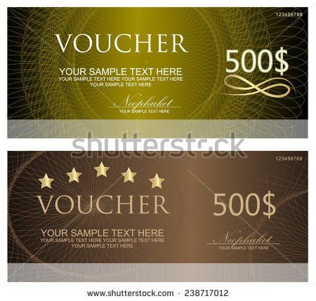 Voucher Coupon Gift Certificate Ticket Template Stock Vector ...