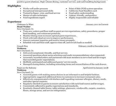 Server Resume Example banquet server resume examples with ...
