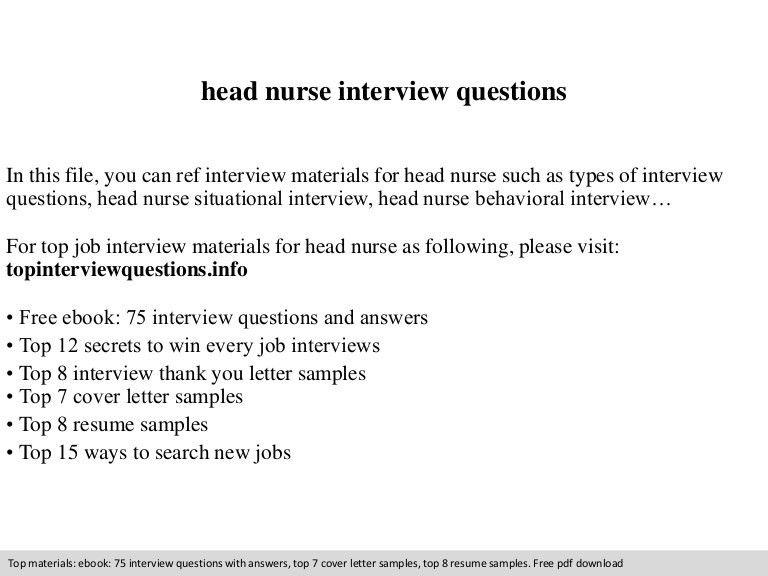 Head nurse interview questions