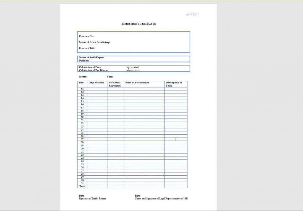 10 Timesheet Template Examples   Templates Assistant