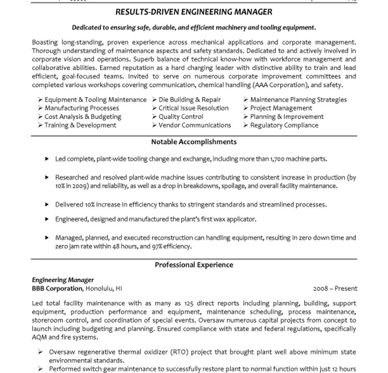 Engineering Manager Resume Cover Letter - Engineering Manager Resume