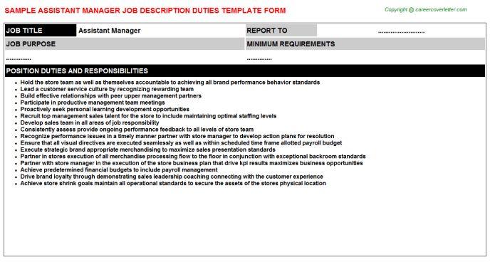 General Affairs Assistant Manager Job Descriptions
