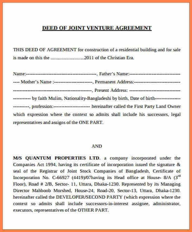 Joint Venture Agreements Sample | Job.billybullock.us