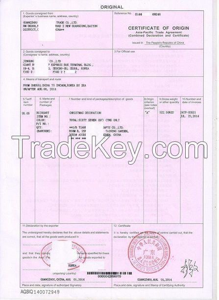 APTA, Certificate of Origin FORM B By GUANGZHOU QIFENG TRADE CO ...