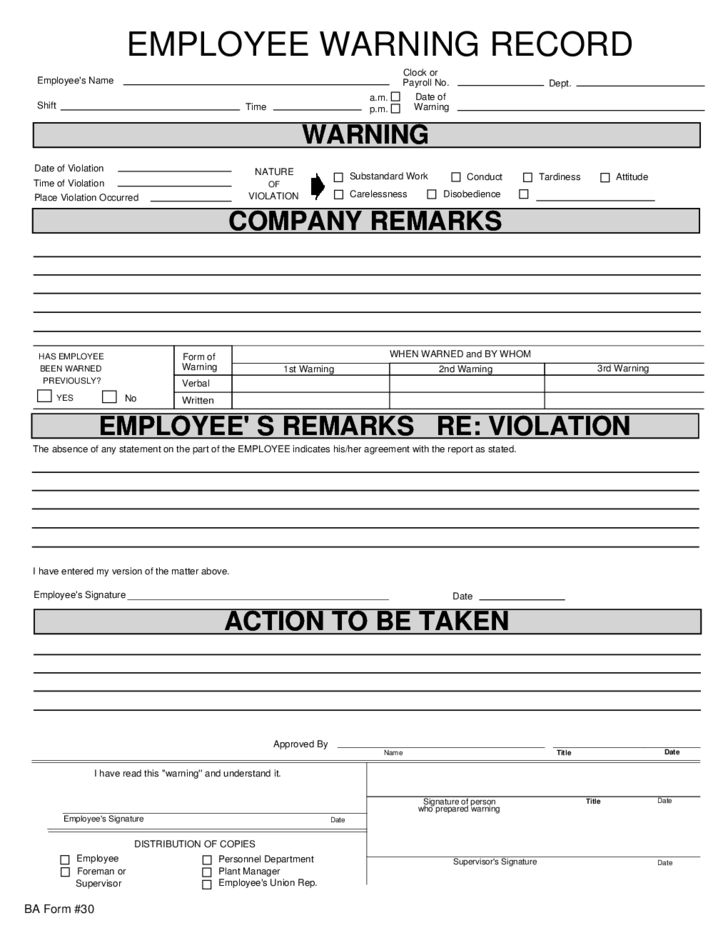 Employee Warning Record Free Download