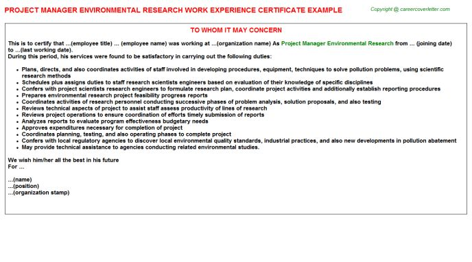 Project Manager Environmental Research Work Experience Certificate