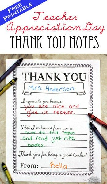 Teacher Appreciation Day Printable Thank You Notes | Teacher, Note ...
