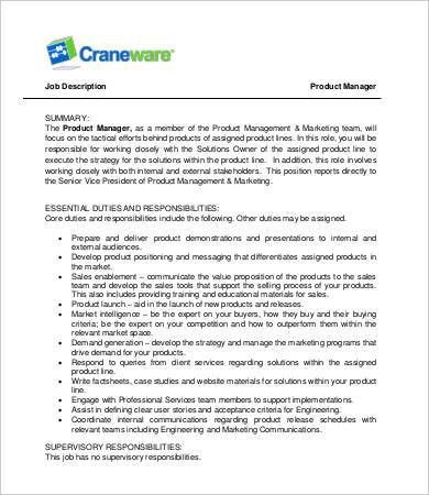 Manager Job Description - 9+ Free Word, PDF Documents Download ...