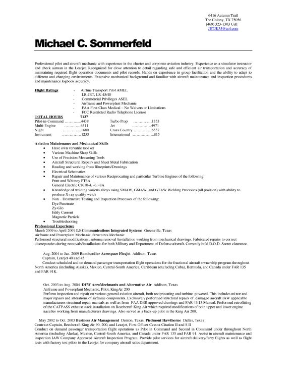 Excellent Aircraft Technician Resume Samples For Employment ...