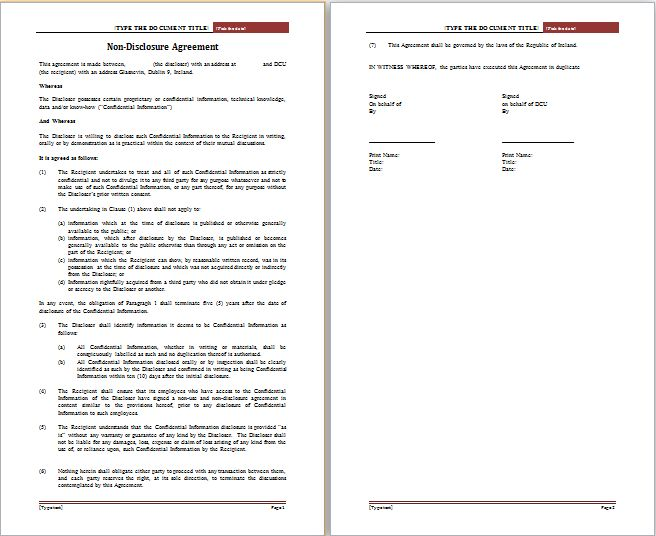 MS Word Non Disclosure Agreement Template | Free Agreement Templates