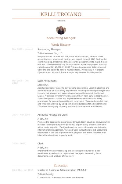 Accounting Manager Resume samples - VisualCV resume samples database
