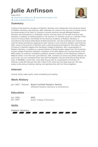 Pediatric Dentist Resume samples - VisualCV resume samples database