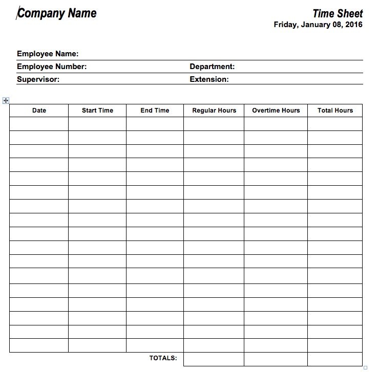 free printable time sheets - Template