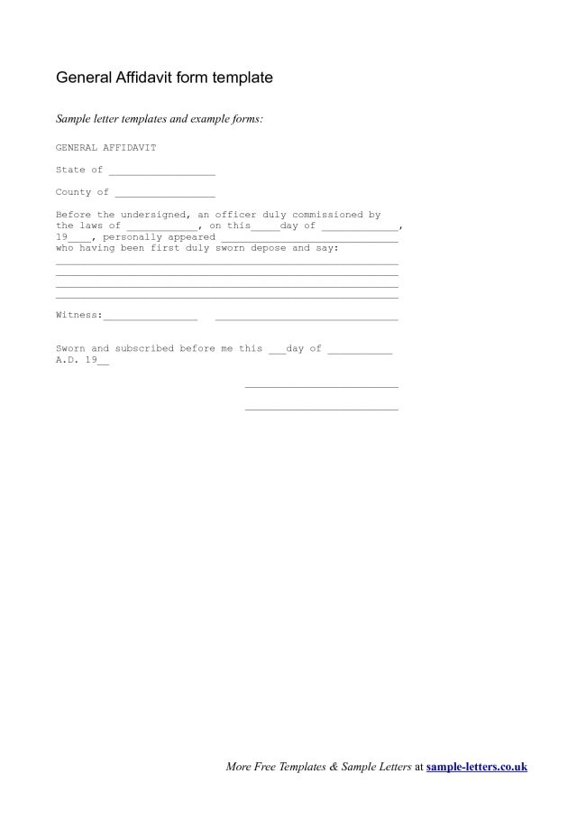 Simple Affidavit Form Template Example with Sworn Date and Witness ...
