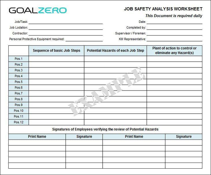 Job Safety Analysis Template - sarahepps -