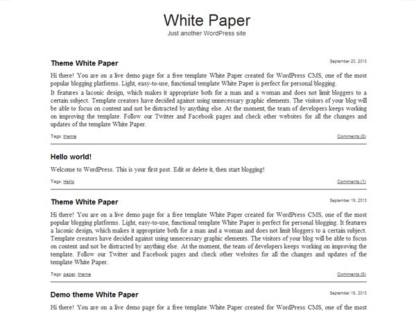White Paper Free WordPress Blog Templates - 9Template