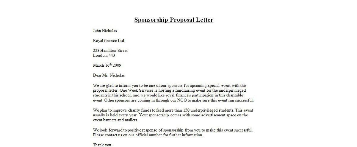 How To Write Sponsor Letter, 40+ sponsorship letter \\u0026 ...