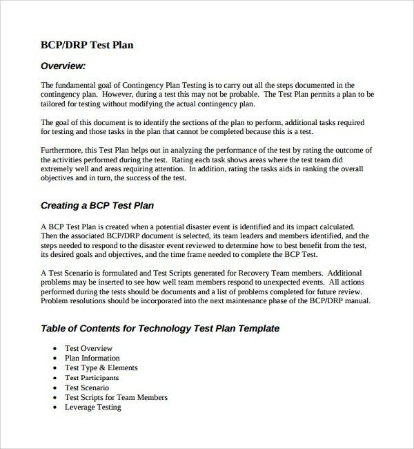 Sample Testing Plan Template - 8+ Free Documents in PDF, Word