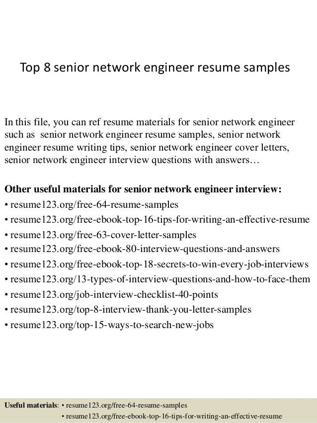 Download Senior Network Engineer Sample Resume ...