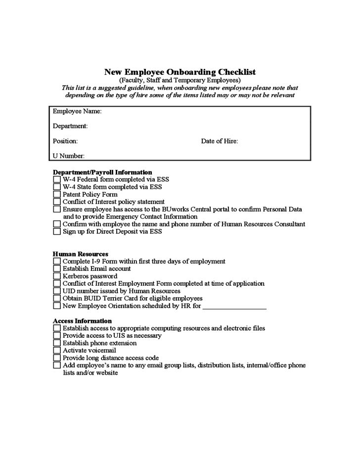 New Employee Onboarding Checklist - Boston Free Download
