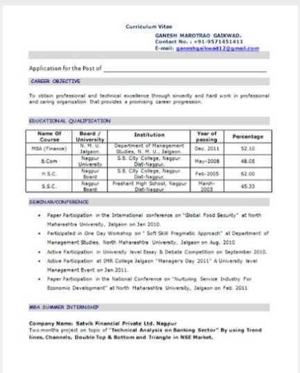 MBA Resume of Finance Samples MBA Resume of Finance Samples - 2017 ...