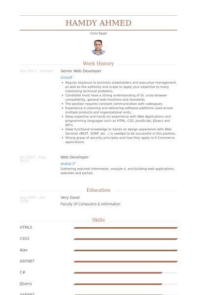 Senior Web Developer Resume samples - VisualCV resume samples database