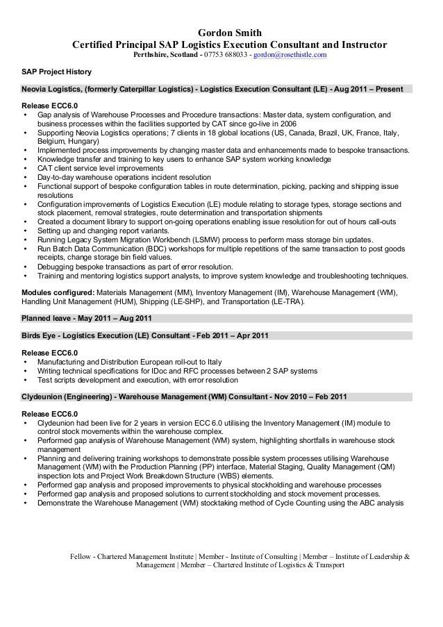 Junior Sap Consultant Resume Sap Fi Cv Sample Sap Abap Resume