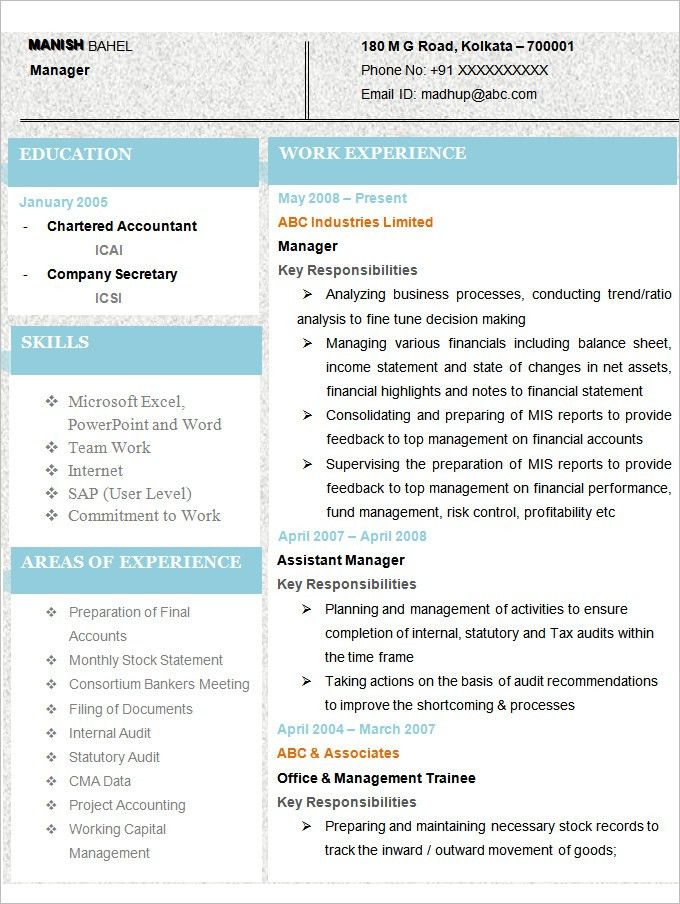 Accounting Resume Template U2013 11+ Free Samples, Examples, Format .