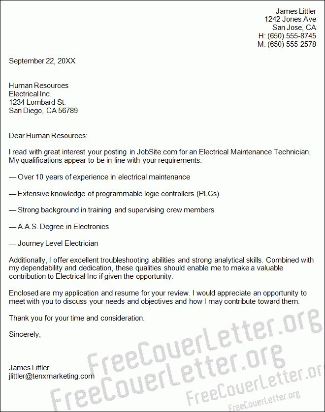 Maintenance Technician Cover Letter Sample