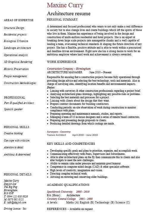 Architect Resume Skills. professional network architecture resume ...