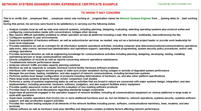 Network Systems Engineer Work Experience Certificate