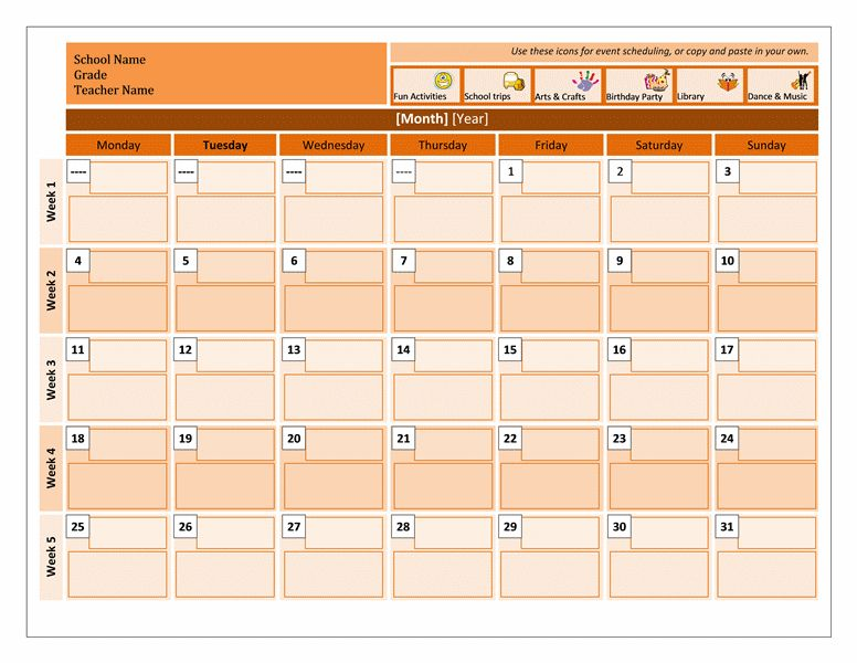 Class calendar - Office Templates
