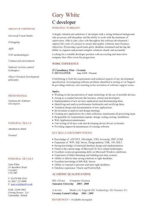 c developer cv sample resume cv writing job application c - Software Developer Sample Resume