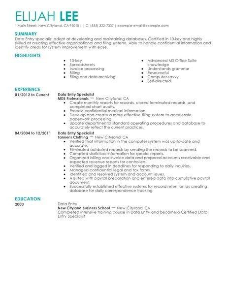 Data Entry Sample Resume | jennywashere.com