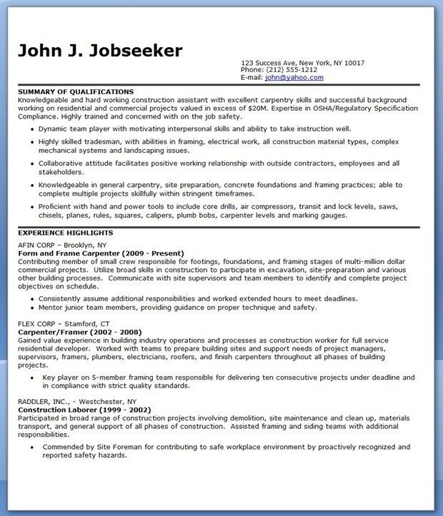 carpenter resume samples sample resume carpenter professional ...