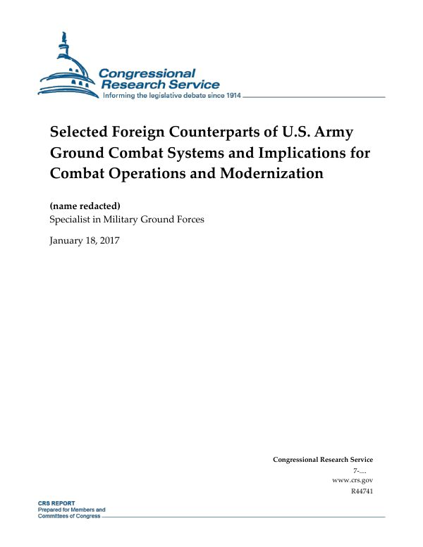Selected Foreign Counterparts of U.S. Army Ground Combat Systems ...