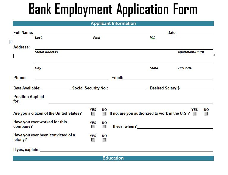 Bank Employment Application Form Template – Project Management ...