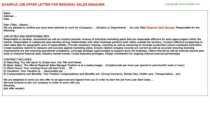 Regional Sales Manager Offer Letter