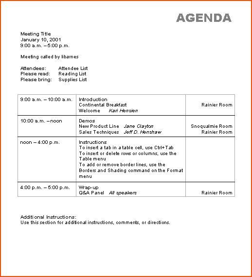 6+ microsoft word agenda template - bookletemplate.org