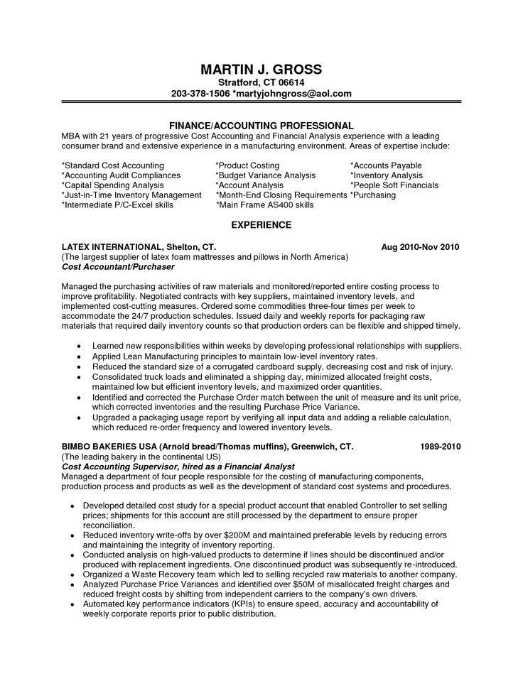 Finance Resume Template. Finance Resume Examples Cost Accountant ...
