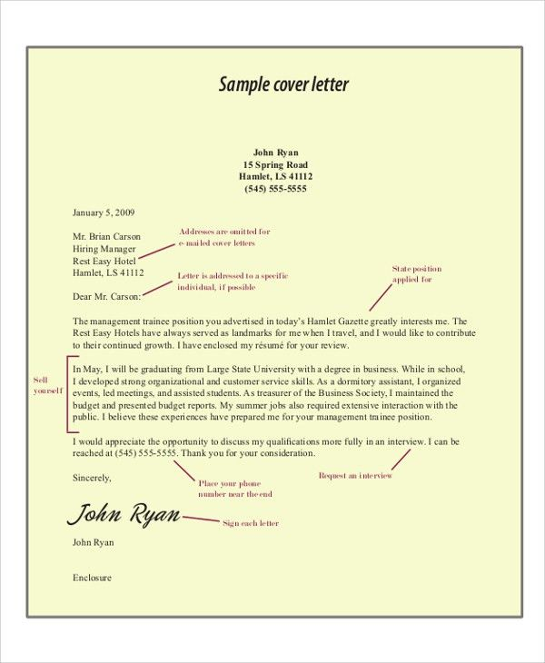 Cover Letter Example For Job - 8+ Samples in Word, PDF
