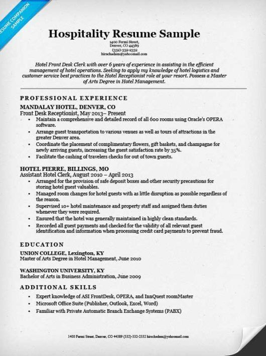 Hotel Clerk Resume Sample | Resume Companion