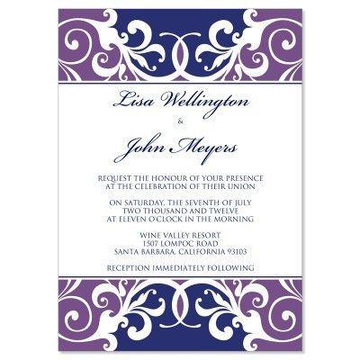 Purple & Blue Wedding Invitation Templates - Jordana Plum Do It ...