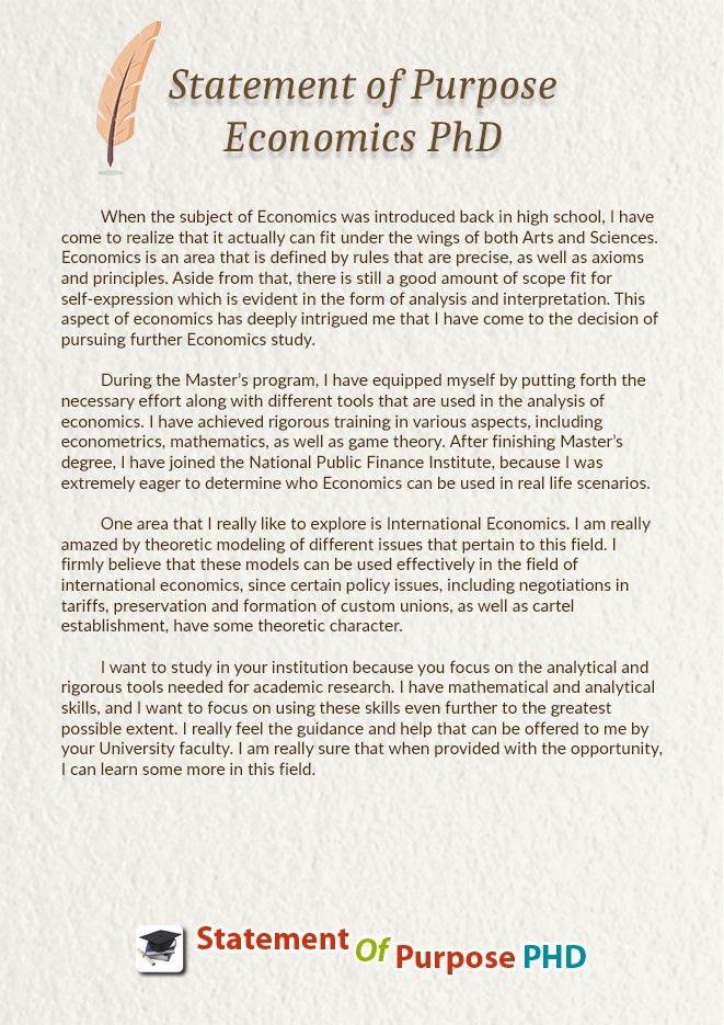 Statement of Purpose Economics PhD Help | Statement Of Purpose Phd
