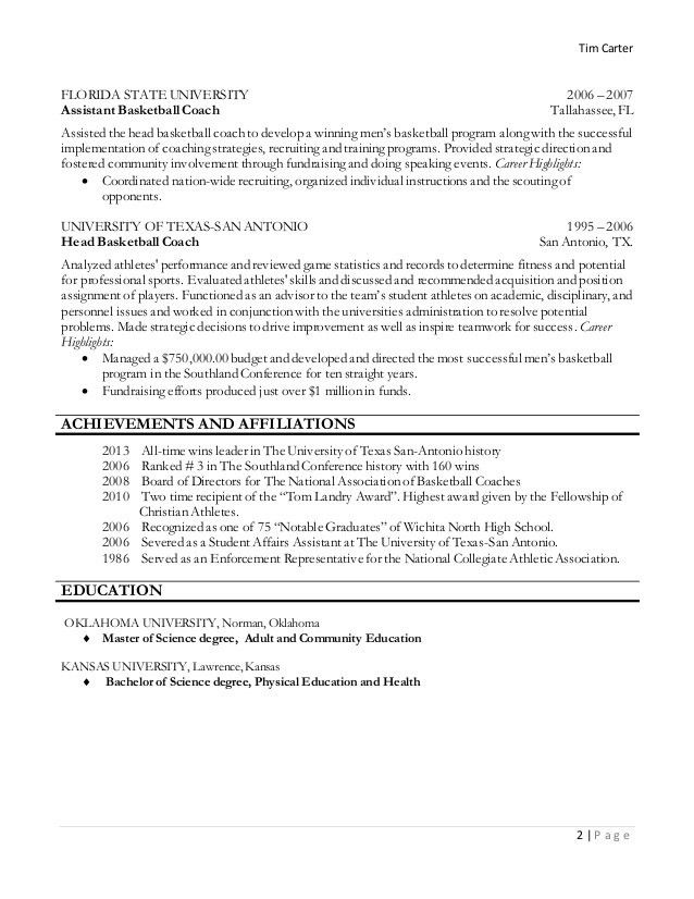 Head Basketball Coach Resume Examples - Contegri.com