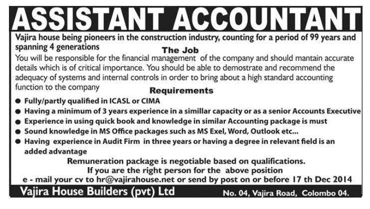 Assistant Accountant,jobs vacancies,Vajira House Builders (Pvt) Ltd